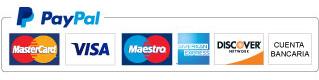 Pago por Paypal, mastercard, visa, maestro, american express